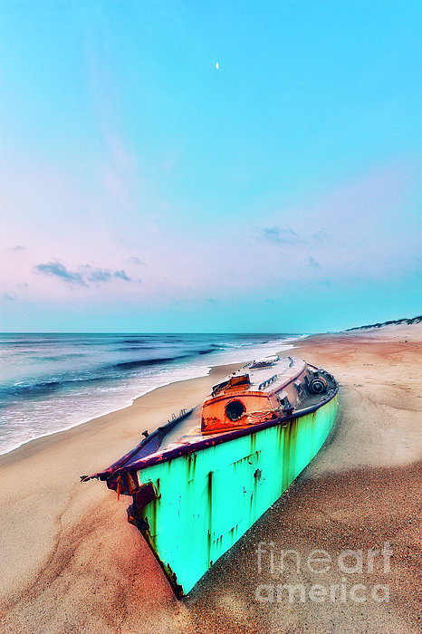 Outer Banks Photograph - Boat Under Morning Moon Outer Banks I by Dan Carmichael