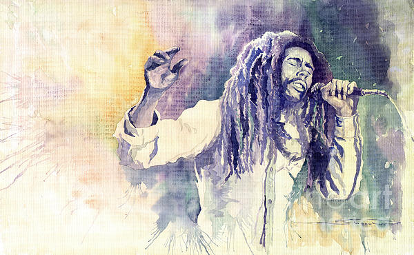 Watercolour Painting - Bob Marley by Yuriy  Shevchuk
