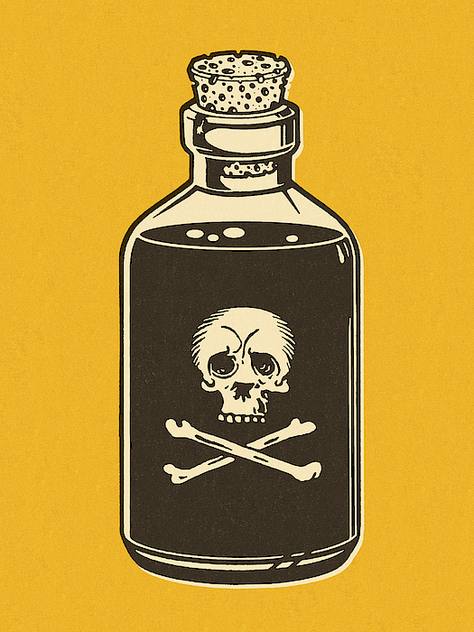 Bottle Of Poison On Yellow Background Drawing by CSA Images