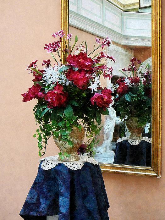 Interior Photograph - Bouquet Of Peonies With Reflection by Susan Savad