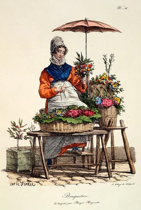 Posy Seller Drawing - Bouquetiere Des Bouquets Pour Margot by Carle Vernet