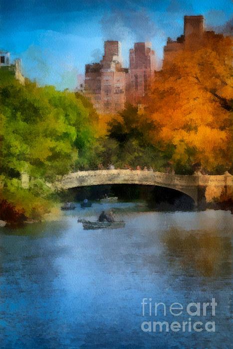 Boat Digital Art - Bow Bridge Central Park by Amy Cicconi