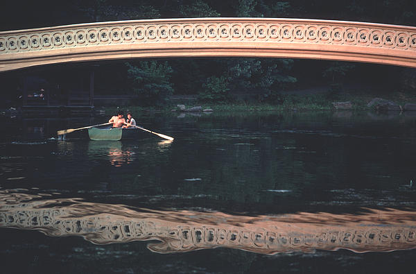 Summer Photograph - Bow Bridge Rowboat Central Park by Tom Wurl