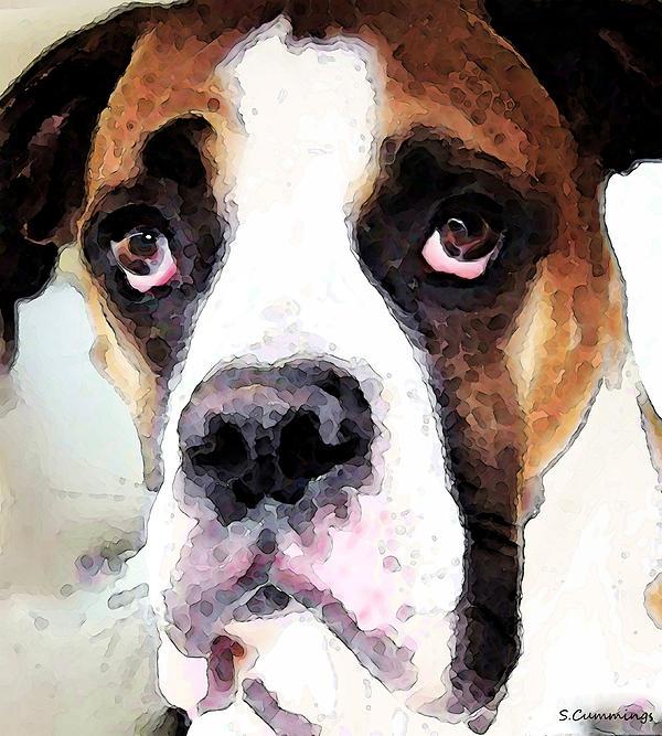 Boxer Painting - Boxer Art - Sad Eyes by Sharon Cummings
