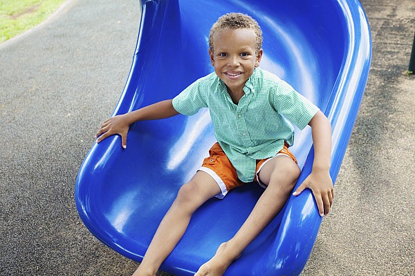 Blue Photograph - Boy On Slide by Kicka Witte