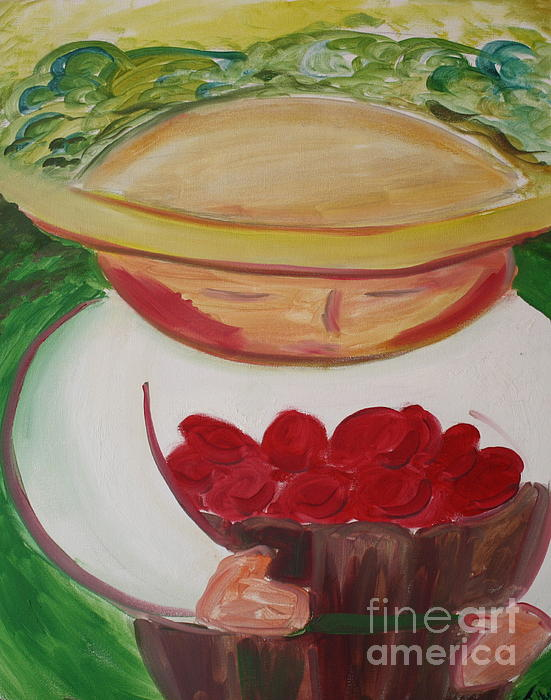 Landscape Painting - Boy With Strawberries by Teresa Hutto