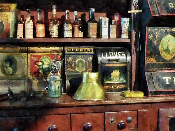 General Store Photograph - Brass Funnel And Spices by Susan Savad