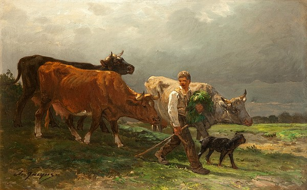 Breton Painting - Breton Lad With Cattle by Julius Caesar Ibbetson