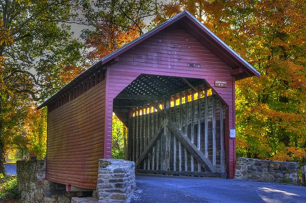 Covered Bridge Photograph - Bridge To The Past Roddy Road Covered Bridge-a1 Autumn Frederick County Maryland by Michael Mazaika