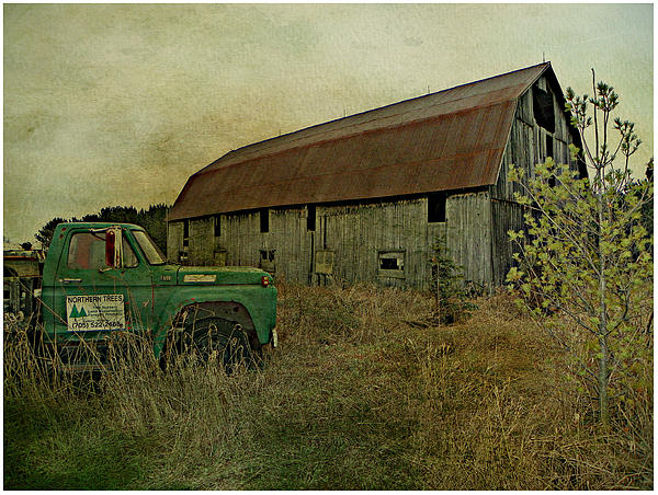 Old Barn Abandoned Truck Farm Field Pasture Country Rural Northern Ontario Canada Photograph - Broken Things To Mend  by Dianne  Lacourciere