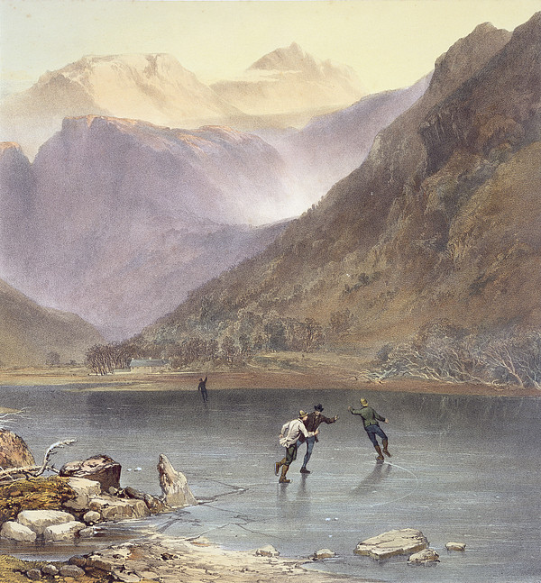 Print Drawing - Brothers Water, Detail Of Ice Skaters by James Baker Pyne