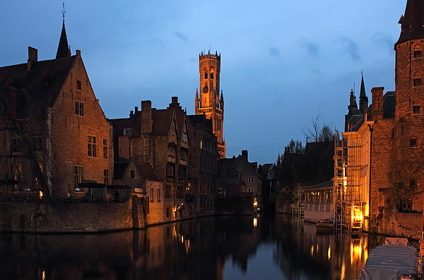 Reflection Photograph - Bruges Rozenhoedkaai Night Scene by Kiril Stanchev