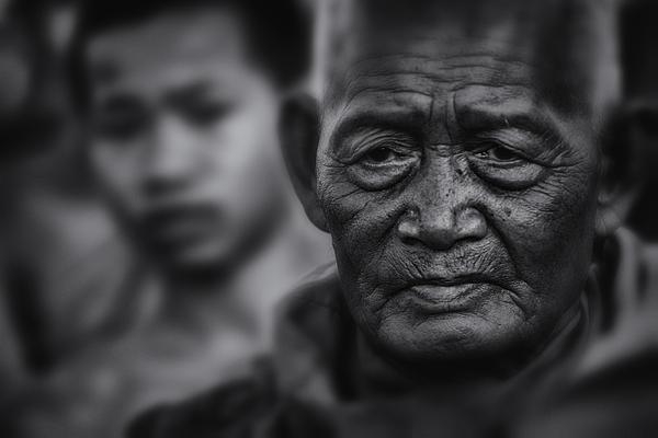 Thailand Photograph - Buddhist Monk Bw1 by David Longstreath