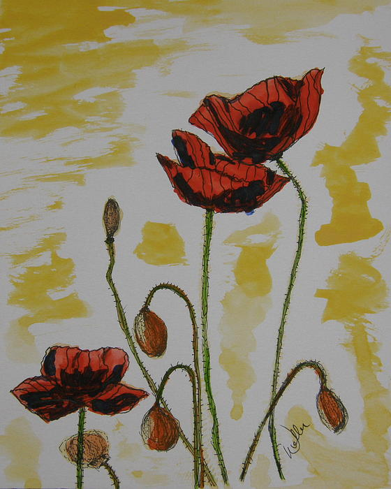 Poppies Painting - Budding Poppies by Marcia Weller-Wenbert