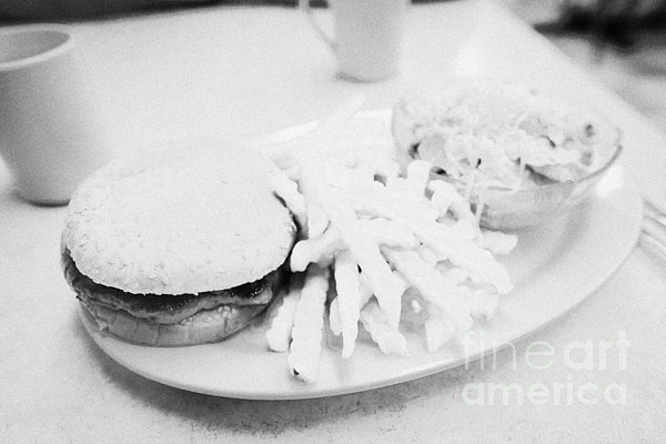 Burger Photograph - Burger Crinkle Cut Fries And Salad In A Cheap Diner In North America by Joe Fox