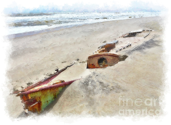 Outer Banks Painting - Buried Treasure - Shipwreck On The Outer Banks II by Dan Carmichael