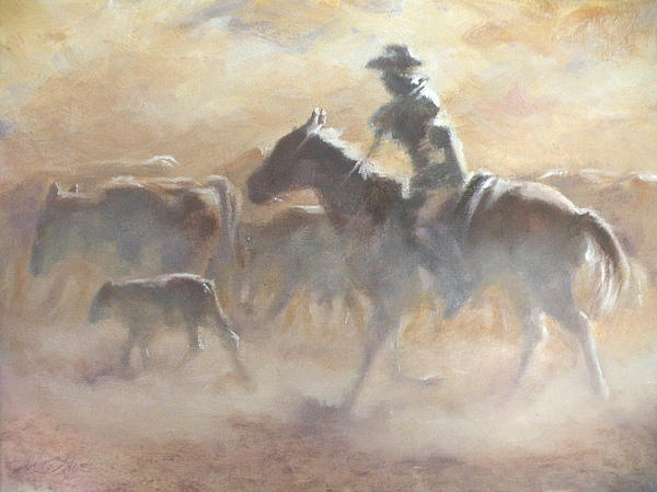 Cowboys Painting - Burning Daylight by Mia DeLode