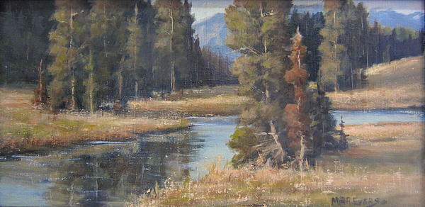 Water Painting - Burnished Meadow by Mar Evers