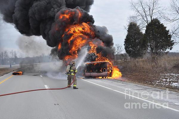 Vehicle Fire Photograph - Bus Fire by Steven Townsend