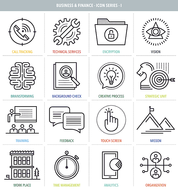 Business And Finance Icon Set Drawing by Ilyast