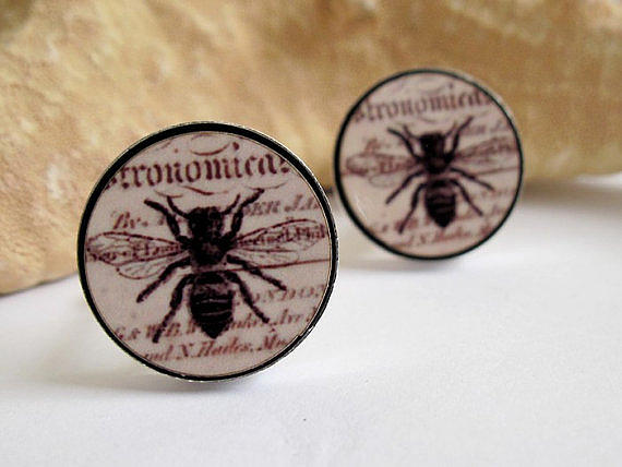 Accessories Jewelry - Busy Bees Mens Cufflinks by Rony Bank