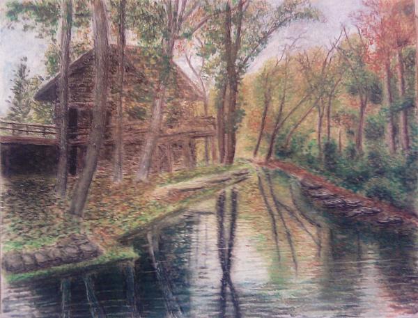 Stream Mixed Media - Butts Mill Farm by Andrew Pierce