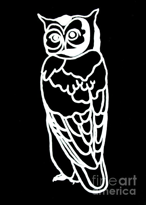Owl Painting - Bw Owl by Amy Sorrell