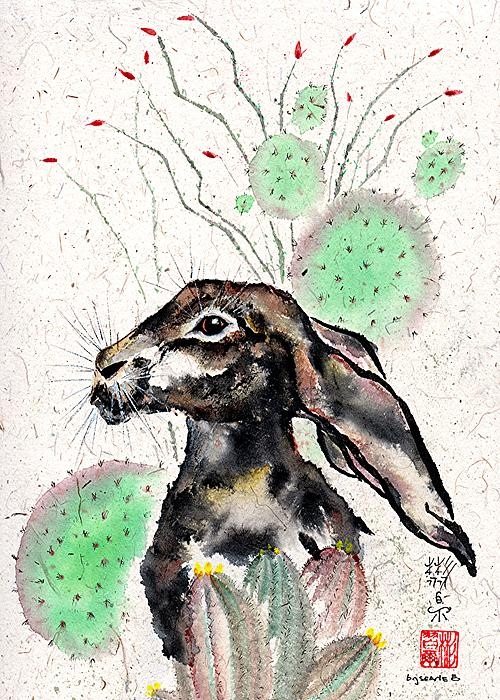 Chinese Brush Painting Painting - Cactus Jack by Bill Searle