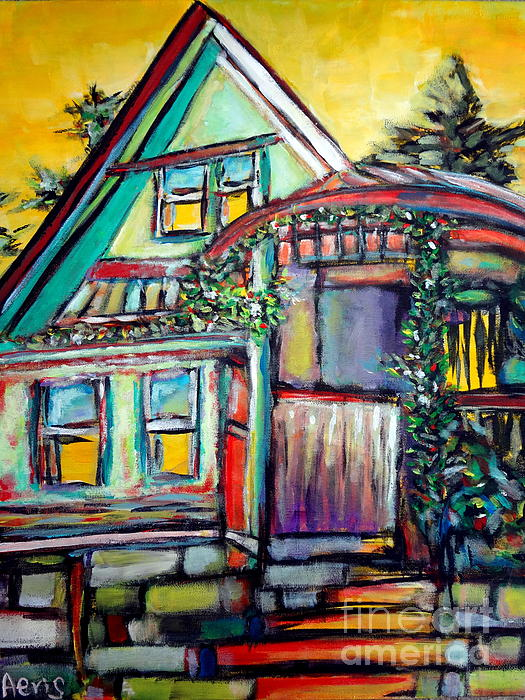 Cafe In Revelsoke Painting - Cafe In Revelsoke Bc Canada by Aeris Osborne