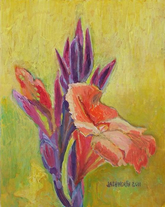 Jann Mixed Media - Canna Lily by Janet Ashworth