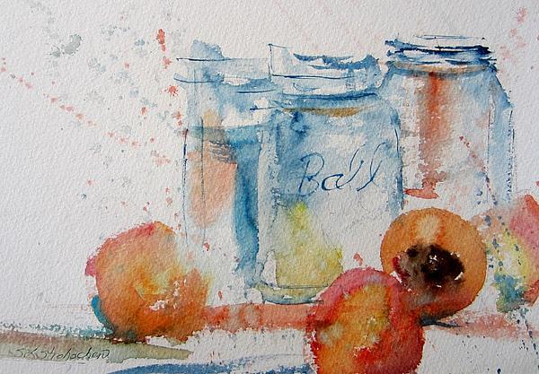 Mason Jars Painting - Canning Peaches by Sandra Strohschein