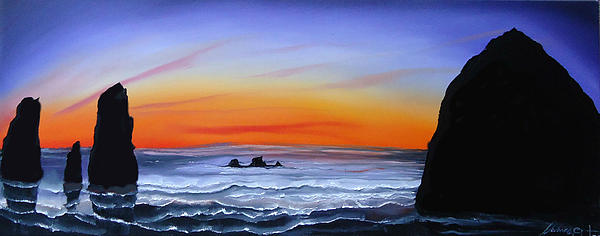 Cannon Beach At Sunset 16 Painting by Portland Art Creations