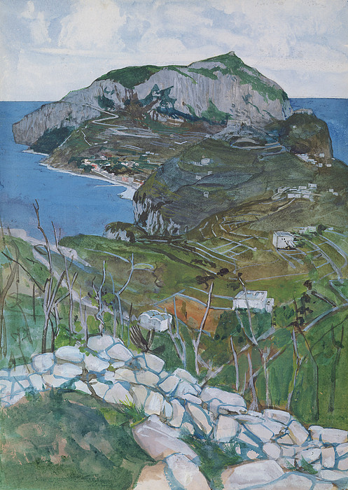 Landscape Drawing - Capri, C.1904 by Maurice Greiffenhagen
