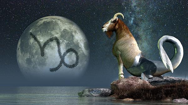 Capricorn Digital Art - Capricorn Zodiac Symbol by Daniel Eskridge