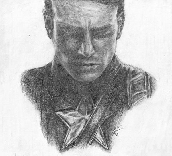 Steve Rogers Drawing - Captain America by Christine Jepsen