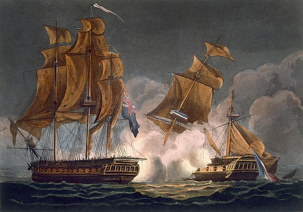 Ship Drawing - Capture Of La Tribune by Thomas Whitcombe
