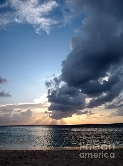 Sunset Photograph - Caribbean Sunset by Peggy Hughes