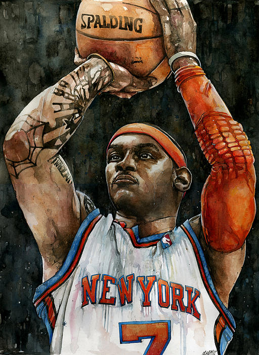 Carmelo Painting - Carmelo Anthony by Michael  Pattison