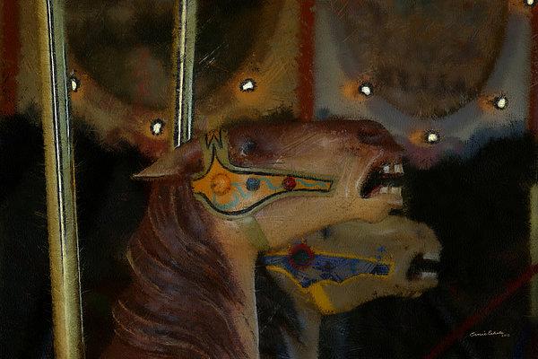 Carousel Horse Digital Art - Carousel Horses Painterly by Ernie Echols