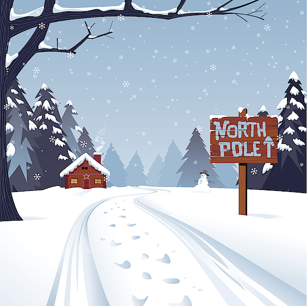 Cartoon Illustration Of The North Pole With Trees And Snow Drawing by Soberve