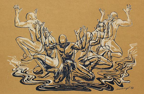 Figures Relief - Carved Men by Maria Arango Diener
