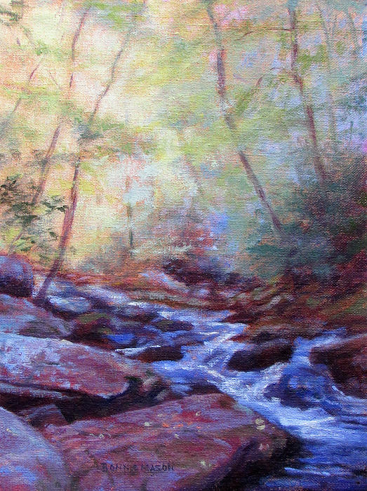Waterfall Painting - Cascading by Bonnie Mason