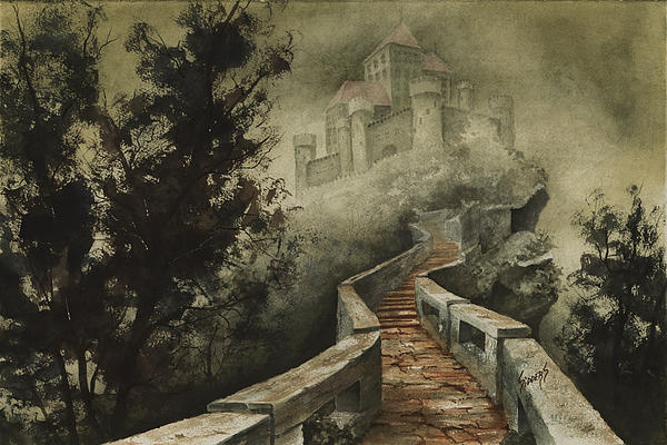 Castle Painting - Castle In The Mist by Sam Sidders