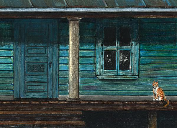 Cat Drawing - Cat On The Porch by J Ferwerda