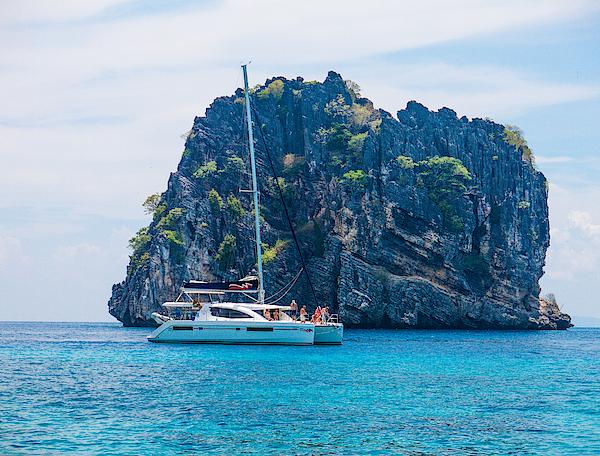 Catamaran Boat Sailing At Koh Haa Neung Island, Andaman Photograph by Placebo365