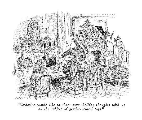 Catherine Would Like To Share Some Holiday Drawing by Edward Koren