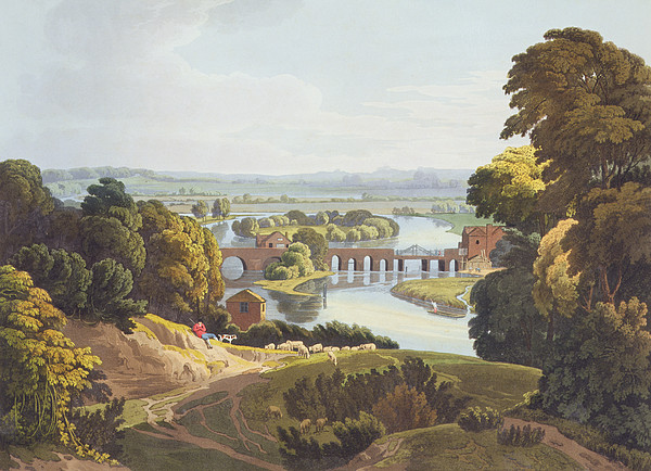 Shepherd Drawing - Caversham Bridge, Near Reading by William Havell