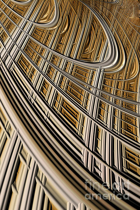 Geometric Harp Digital Art - Celestial Harp by John Edwards