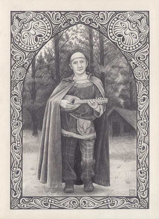 Pencil Sketch Drawing - Celtic Bard by Tania Crossingham