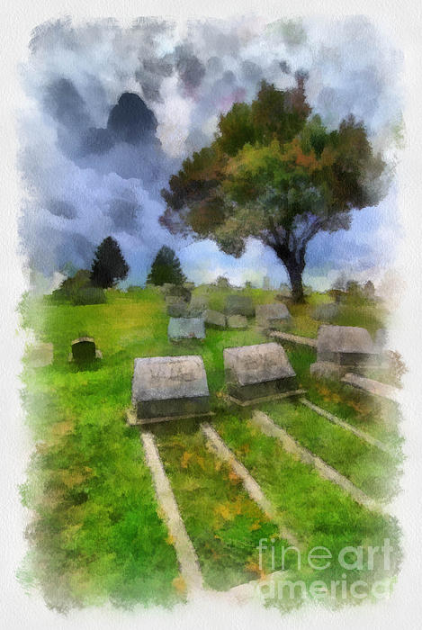 Afterlife Digital Art - Cemetery Clouds by Amy Cicconi